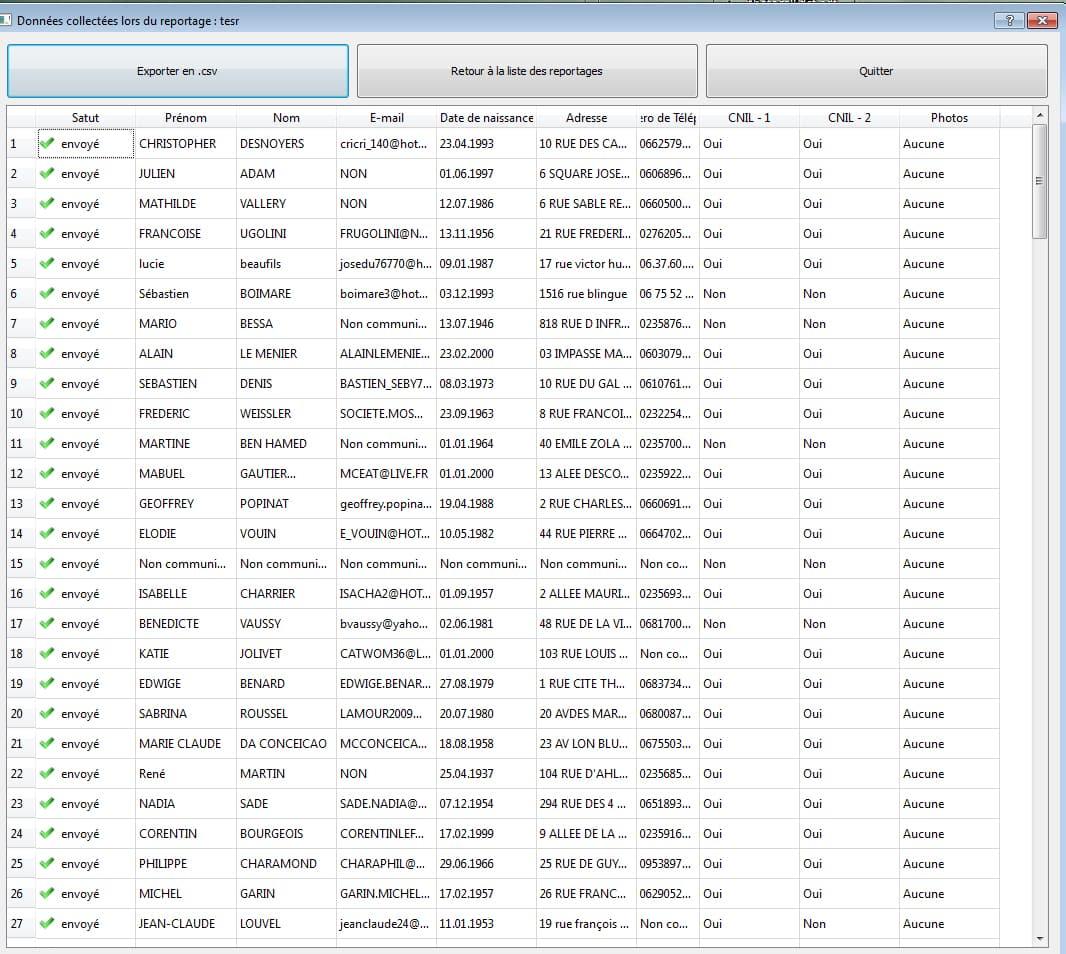 exportation des donnnees collectees - Collecte de données et enquêtes via les bornes photos