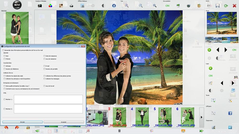 configuration collete infos - Envoi en live vers les réseaux sociaux depuis les bornes photos